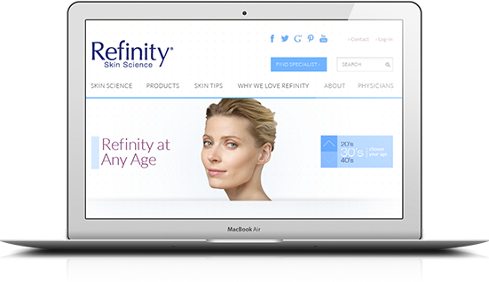 refinity website on laptop