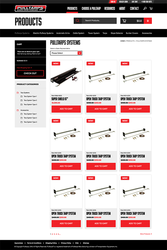 pulltarps products on website