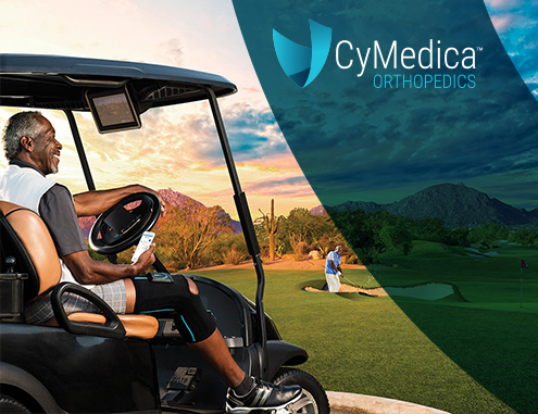 cymedica knee brace on golfer